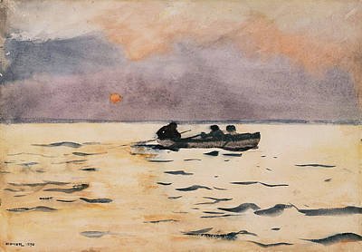 Row Homes Painting - Homer Rowing Home, 1890 by Granger