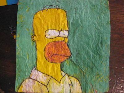 Ball Point Pen Painting - Homer Simpson - Napkin Art by David Lovins