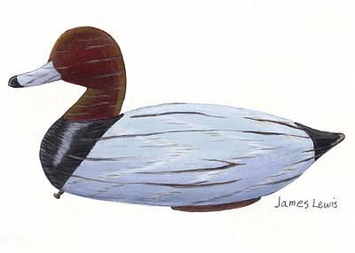 James Lewis Painting - Homerfulcher Red Head Decoy by James Lewis