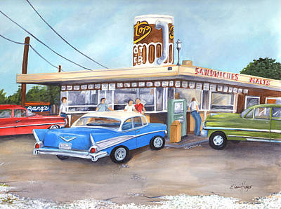 Drive In Painting - Hometown Memories by Elaine Hodges