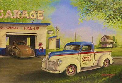 Service Station Painting - Hometown Service by Whitey Thompson