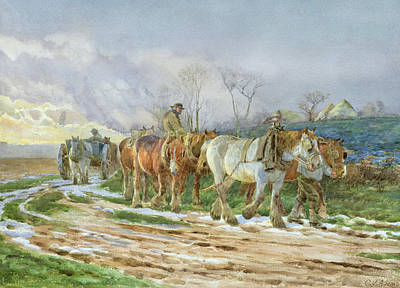 Of Horses Painting - Homeward Bound by Charles James Adams