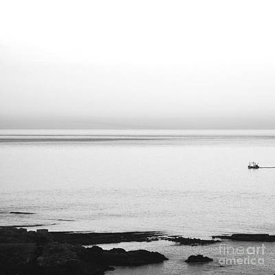 Photograph - Homeward Bound In Calm Seas Black And White by Paul Davenport