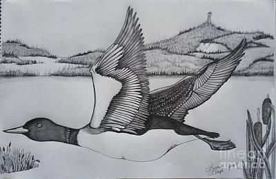 Loon Drawing - Homeward Bound by Laurrie Lloyd