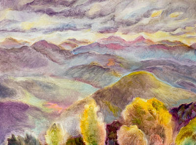 Blue Ridge Painting - Hominy Morning Blue Ridge Parkway by Lisa Blackshear
