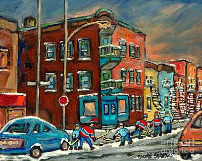 Quebec Streets Painting - Hockey Art Big Game Tonight At The Local Deli Montreal Winter Art Hockey Near Winding Staircases  by Carole Spandau