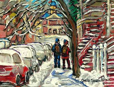 Roddick Gates Painting - Winter Walk To Mcgill Snowy Red Staircase Montreal Paintings Winter Scene Art Carole Spandau by Carole Spandau