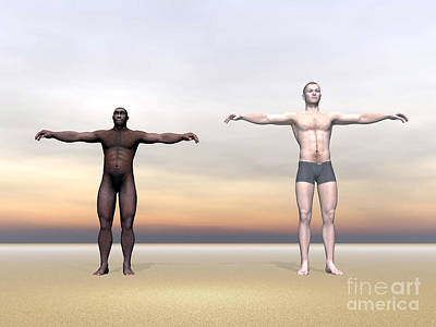 Muscular Digital Art - Homo Erectus Man Next To Modern Human by Elena Duvernay