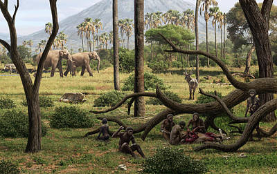 Early Human Photograph - Homo Habilis Hunters by Mauricio Anton