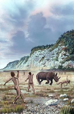 Early Human Photograph - Homo Heidelbergensis Hunting by Richard Bizley
