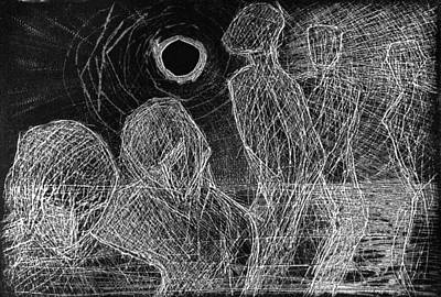 Drawing - Homograving #1. Black Moon by Alfredo Gonzalez