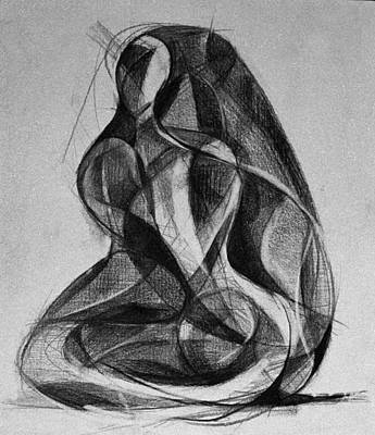 Drawing - Homotrace #25. Woman Sitting On The Floor by Alfredo Gonzalez