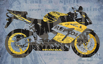 Music Mixed Media - Honda Cbr1000 - Old Newspaper Cuts by Pablo Franchi