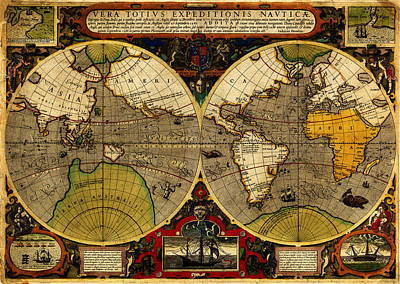 Hondius Map Of The World 1595 Art Print by MotionAge Designs