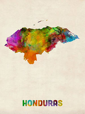 South America Digital Art - Honduras Watercolor Map by Michael Tompsett