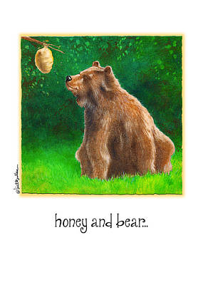 Bee Hive Painting - Honey And Bear... by Will Bullas