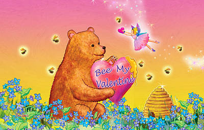 Fairy Hearts Pink Flower Painting - Honey Bear And Fairy Valentine by Teresa Ascone