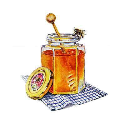 Jars Painting - Honey Bee by Irina Sztukowski