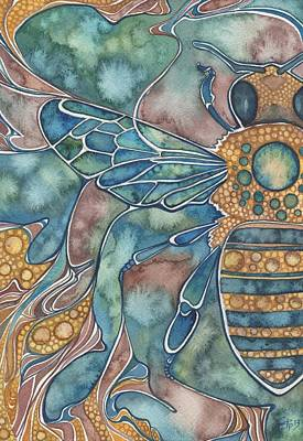 Earth Tone Painting - Honey Bee by Tamara Phillips