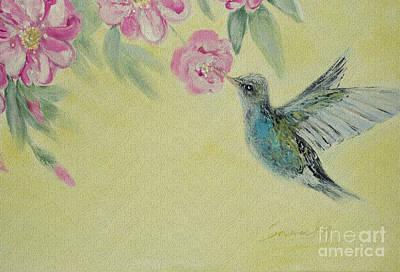 Painting - Hummingbird And Wild Roses by Oksana Semenchenko