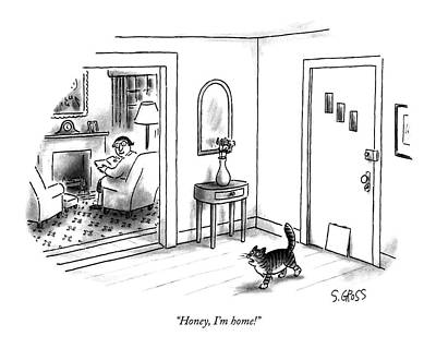 House Cats Drawing - Honey, I'm Home! by Sam Gross