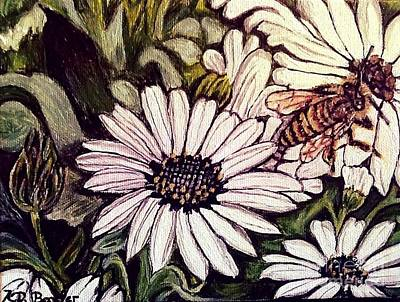 Honeybee Cruzing The Daisies Original by Kimberlee Baxter