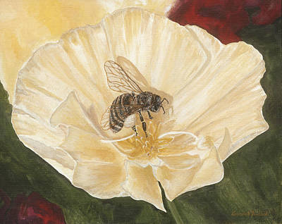 Painting - Honeybee On Cream Poppy by Lucinda V VanVleck