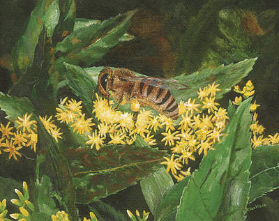 Painting - Honeybee On Goldenrod by Lucinda V VanVleck