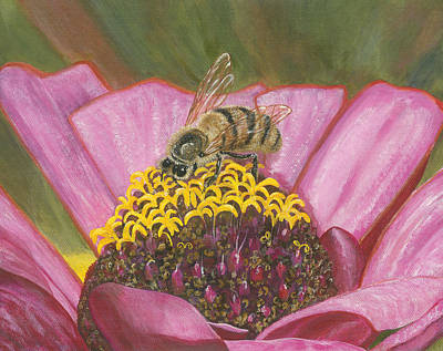 Painting - Honeybee On Pink Zinnia by Lucinda V VanVleck