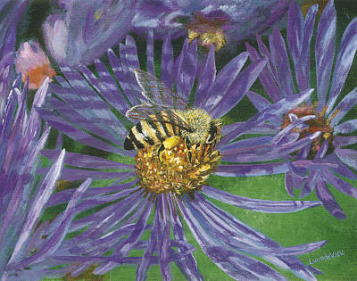 Painting - Honeybee On Purple Aster by Lucinda V VanVleck