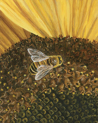 Painting - Honeybee On Sunflower by Lucinda V VanVleck