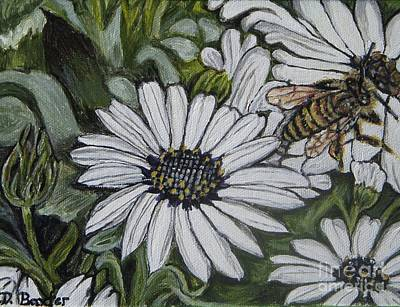 Art Print featuring the painting Honeybee Taking The Time To Stop And Enjoy The Daisies by Kimberlee Baxter
