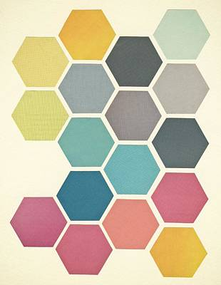 Geometric Shapes Mixed Media - Honeycomb II by Cassia Beck