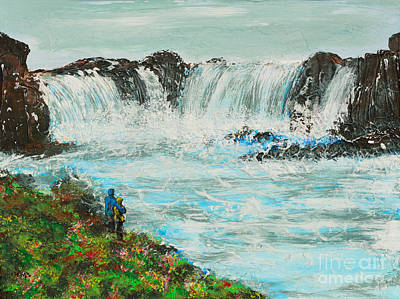 Honeymoon At Godafoss Art Print