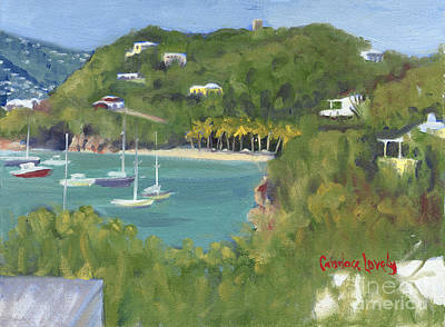 Saba Painting - Birds Eye View Honeymoon Beach North by Candace Lovely