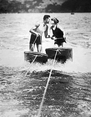 One Piece Swimsuit Photograph - Honeymooners On Sf Bay by Underwood Archives