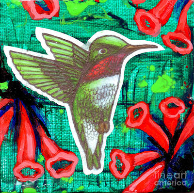 Painting - Honeysuckle Hummingbird by Genevieve Esson