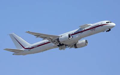 Honeywell Boeing 757 Engine Testbed N757hw Phoenix August 9 2013 Art Print by Brian Lockett