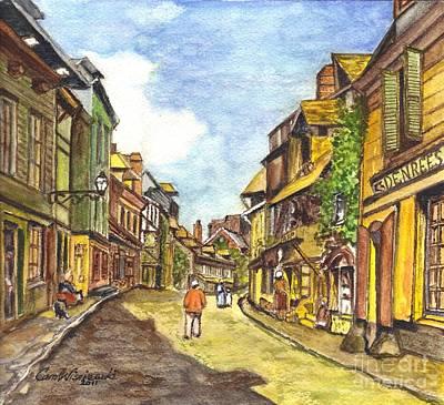 Claude Mixed Media - Honfleur France La Rue De La Bouille After Monet  by Carol Wisniewski
