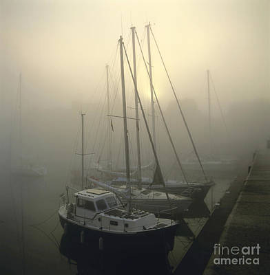 Honfleur Harbour In Fog. Calvados. Normandy Art Print by Bernard Jaubert