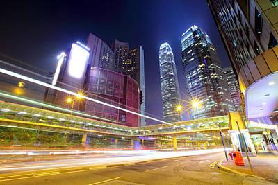 Financial District Photograph - Hong Kong , Modern City At Night With by Ngkaki