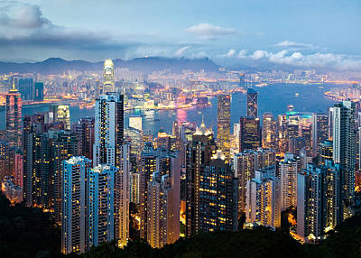 Illuminated Photograph - Hong Kong At Dusk by Dave Bowman