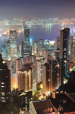 Photograph - Hong Kong At Night by Songquan Deng