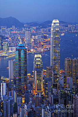 Hong Kong At Twilight Vertical Art Print