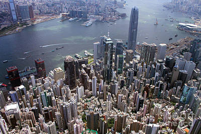 Hong Kong Central From Above Art Print by Lars Ruecker