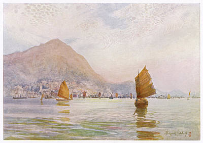 Hong Kong Drawing - Hong Kong From Kowloon,  Showing by Mary Evans Picture Library
