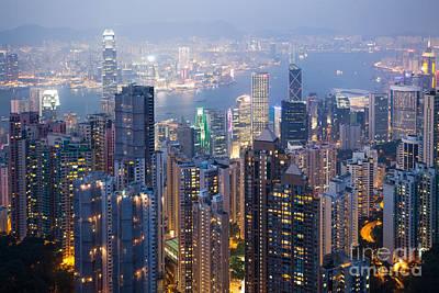 Hong Kong Harbor From Victoria Peak At Night Print by Matteo Colombo
