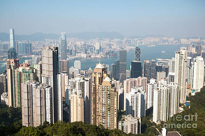Hong Kong Photograph - Hong Kong Harbor From Victoria Peak In A Sunny Day by Matteo Colombo
