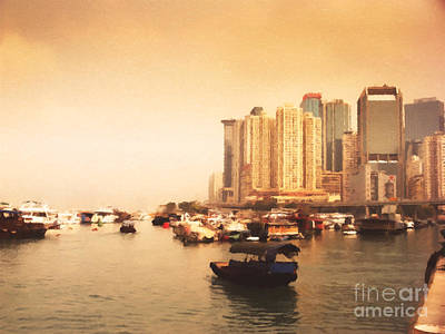 Sunrise Painting - Hong Kong Harbour 02 by Pixel Chimp