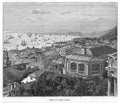 Hong Kong Drawing - Hong Kong Harbour, China, 1860     Date by Mary Evans Picture Library